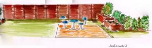 Projet de terrasse avec clôture bois