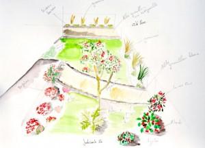 Schéma d'implantation de jardin fleuri