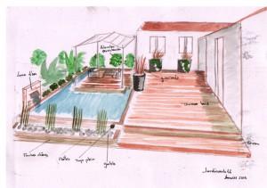 Aménagement de jardin avec bassin, solarium et terrasse en bois